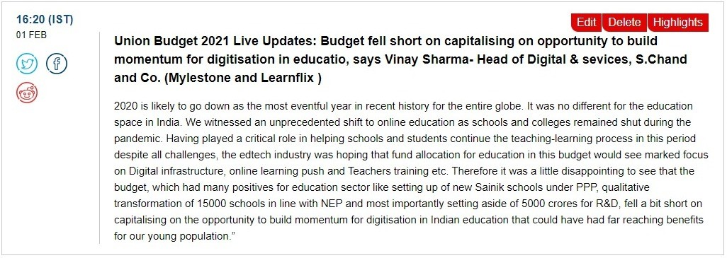 Union Budget 2021 LIVE Updates: Budget fell short on capitalizing on opportunity to build momentum for digitisation in education, says Vinay Sharma – Head of Digital & Services, S. Chand and Co. (Mylestone and Learnflix)