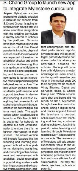 S. Chand Group to launch new App to integrate Mylestone curriculum
